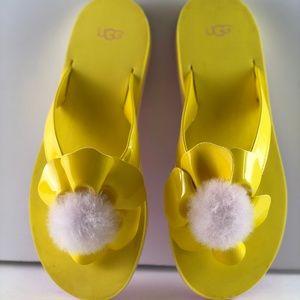 UGG Women's Yellow Poppy Flower Flip Flops